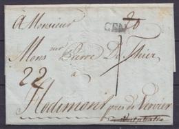 """L. Datée 19 Février 1790 De LIVOURNE Pour HODIMONT Près De Verviers (en Westphalie) - Griffe """"GENOVA"""" Port """"20"""" Corrigé - 1714-1794 (Austrian Netherlands)"""