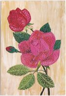 Gf. Carte Brodée. ROSES - Flores