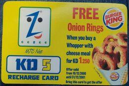 KUWAIT - 5 KD - Eezee Mtc  Net Onion Rings Burger King - Kuwait