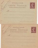 France Entiers Postaux - 20 C Brun Semeuse Camée - Carte Postale - Neuf - TB. 017   X 2         1 5 19 - Standaardpostkaarten En TSC (Voor 1995)