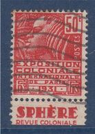 Exposition Coloniale Internationale De Paris 1931 Timbre 50c Rouge N°272b Bande Publicitaire Sphère Revue Coloniale - Advertising