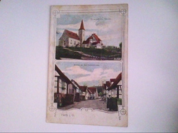 Fürth I. O. Zweibildkarte. Ev. Kirche. Partie An Der Inselstrasse. Bahnpost Fürth Weinheim. AK. - Duitsland