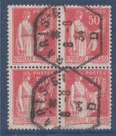 Bloc De 4 Oblitérés Type Paix N°283 Oblitération Paris 8.8.34 - 1932-39 Paz