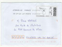 Enveloppe FRANCE Avec Vignette D' Affranchissement Lettre Verte Oblitération LA POSTE 37580A-02 15/07/2020 - 2010-... Illustrated Franking Labels