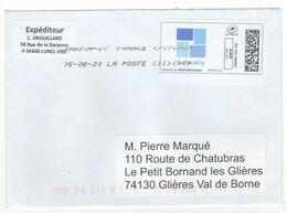 Enveloppe FRANCE Avec Vignette D' Affranchissement Lettre Verte Oblitération LA POSTE 15/06/2020 - 2010-... Illustrated Franking Labels