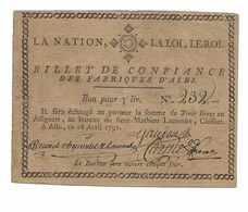 BILLET DE CONFIANCE TROIS LIVRES FABRIQUE D'ALBI ALBI 18 AVRIL 1791 ASSIGNAT REVOLUTION /FREE SHIPPING R - Assignats & Mandats Territoriaux