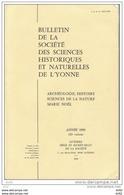 YONNE BULLETIN DE LA SOCIETE DES SCIENCES HISTORIQUES ET NATURELLES DE L YONNE (89) - Bourgogne