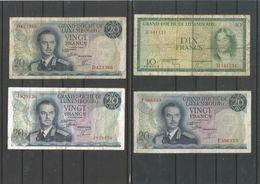 Grand Duché De Luxembourg : 5 Billets De Banque - Luxemburgo