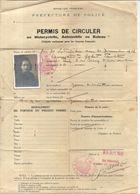 PERMIS DE CIRCULER . MOTOCYCLETTE AUTO BATEAUX . 1939 - Titres De Transport