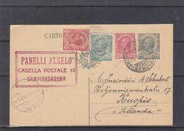 Italie - Carte Postale De 1921 - Entier Postal -oblit Sampierdarena - Exp Vers Kuopio En Finlande - Timbre Décentré - 1900-44 Victor Emmanuel III