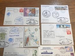 L1 TAAF Lot De 10 Lettres De Missions Marion Dufresne Fdc Et Autres Années 1980/2000 - FDC