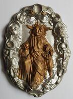 """PLAQUE VOTIVE - CATHOLICISME - """"LAISSEZ VENIR A MOI LES PETITS ENFANTS"""" - JESUS - PLAQUE METAL EMBOUTIE PEINTE - XX° - Religion & Esotérisme"""