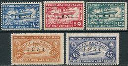 Paraguay 1934. Michel #432/36 VF/MNH. Aviation. Zeppelins (Ts21) - Paraguay