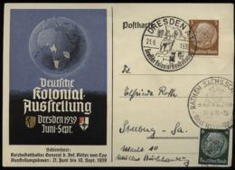 WW II DR Postkarte Kolonial Ausstellung Dresden 1939: Gebraucht Mit Sonderstempel Dresden + Rathen Karl May Spiele - S - Germany