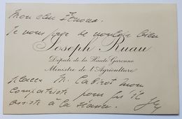 MINISTERE DE L'AGRICULTURE - JOSEPH RUAU - MINISTRE ET DEPUTE - MAIRE D'ASPET (09) - PLI DESTINE AU CHEF DES HUISSIERS - Visiting Cards