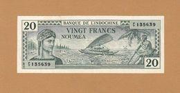 French Nouvelle-Calédonie Colonie 20 Francs 1944 P-49 XF + Nouméa - Indochine