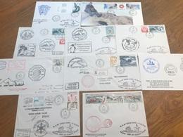 L7 TAAF Lot De 10 Lettres De Missions Marion Dufresne Crozet Adélie Radio Fdc Et Autres Années 1980/2000 - FDC