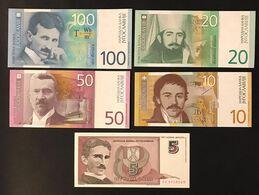 Jugoslavia Yugoslavia 100+50+20+10 Dinara 2000 AA UNC + 5 Dinara 1994 A0 Unc LOTTO 3302 - Jugoslawien