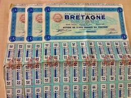 Ateliers  Et  Chantiers  De  BRETAGNE  ------- Lot  De  3  Actions  De  2.500 Frs - Industrie