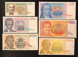 Jugoslavia Yugoslavia 500000 + 50000 + 5000 + 1000 + 100 + 10  Dinara 1994  Unc LOTTO 3303 - Jugoslawien