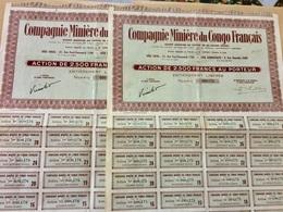 COMPAGNIE  MINIÈRE  Du  CONGO  FRANÇAIS ----------- Lot  De  2  Actions  De  2.500 Frs - Mines