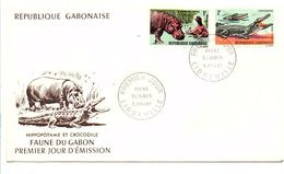 GABON FDC 1967 HIPPOPOTAME ET CROCODILE - Gabon