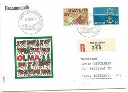 """59 - 26 - Enveloppe Recommandée Avec Oblit Spéciale """"OLMA St Gallen 1968"""" - Marcofilie"""