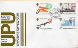 SOBRE 1r.DIA CENTENARIO UPU, 1974,  GRAN BRETAÑA. MICHEL 650-653 - Covers & Documents
