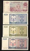 Serbian Republic Krajna 500+100+50 Dinara 1992 + 5000 1993 UNC  LOTTO 3306 - Serbia