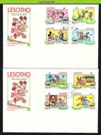Nfe2681b WALT DISNEY MICKEY EN GOOFY HONDEN PLUTO DOGS HUNDE CHRISTMAS LESOTHO 1983 FDC'S - Disney