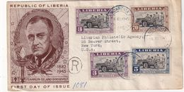 LIBERIA 1945 FDC RECOMMANDE DE MONROVIA AVEC CACHET ARRIVEE NEW YORK - Liberia