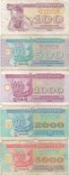 Ukraine : Série De 5 Petits Billets 1991-93 : 100 + 500 1000 + 2000 + 5000 Karbovantsiv (très Mauvais état) - Ukraine