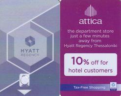 GREECE - Hyatt Regency Thessaloniki(reverse Attica The Department Store), Hotel Keycard, Sample(no Chip) - Chiavi Elettroniche Di Alberghi