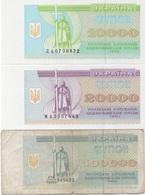 Ukraine : Série De 3 Petits Billets 1993-95 : 10000 + 20000 + 100000 Karbovantsiv (UNC-UNC-mauvais) - Ukraine