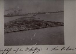 ! Original Foto, Old Photo, New Orleans, Mississippi , Lumber, Floß, Wood, Holz, USA, 1904 - New Orleans