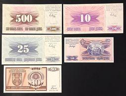 BOSNIA HERZEGOVINA 500 + 25 + 10 +50 + 10 Dinari  LOTTO 3307 - Bosnië En Herzegovina