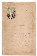VP17.232 - 1897 - Lettre Illustrée Papier Gaufré Double Page Avec Découpi Fleurs & Oiseau -  Melle J. PRIGNAULT à FOUDON - Animals