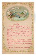 VP17.235 - 1905 - Lettre Illustrée Papier Gaufré Double Page Avec Découpi Fleurs & Oiseau - Melle J. PRIGNAULT à FOUDON - Animals