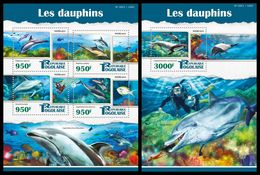 TOGO 2015 - Dolphins, Diving - YT CV=41 €, 4738-41 + BF1047 - Diving