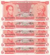 Venezuela : 5 Bolívares 1989 UNC (prix Par Billet) - Venezuela