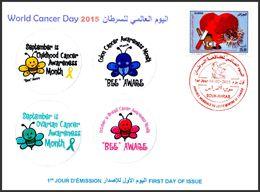 ALGERIA - 2015 - FDC - World Cancer Day Weltkrebs Tag Cancro Kanker Heart Bee Therapy Bees Biene Abeja Honingbij Ape - Medicine