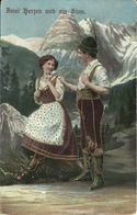 AK Gebirgsleben Mann + Frau In Tracht - Golddruck - 1919 #11 - Costumes