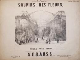Spartiti - Soupirs Des Fleurs - Polka Pour Piano Par Strauss - Vieux Papiers