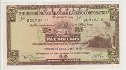 Hong Kong 5 Dollars 1973 Pick 181f AUNC - Hongkong