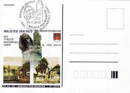 Slovakia, Occasional Correspondence Card 600th Death Anniversary Majster Ján Hus,jediný Pamätnik U Nás,tirage 200 Pieces - Postal Stationery