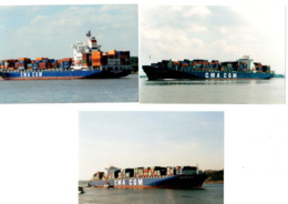 3 Real Photo's - Container Ships - CMA CGM Shipping Line - Lavender - Voltaire - Fidelio - Bateaux
