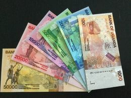 UGANDA SET 1000 2000 5000 10000 20000 50000 SHILLINGS BANKNOTES 2010 UNC - Uganda
