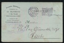 AD.HILDEBRAND BRUXELLES NAAR ASSE DUITSCHE CONTROLE STEMPEL 1915  HOUBLONS V.GINDERACHTER  2 SCANS - Asse