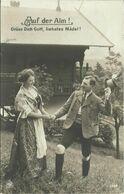AK Gebirgsleben Mann + Frau In Tracht Beim Gruß Vor Berghütte - 1903 #14 - Costumes