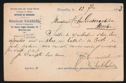 CHARLES GABRIELS  BRUXELLES  NAAR ASSE DUITSCHE CONTROLE STEMPEL 1915  HOUBLONS V.GINDERACHTER  2 SCANS - Asse